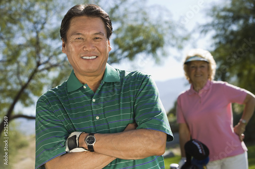 Senior woman on golf course