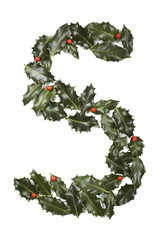 Holly With Berry Letter S