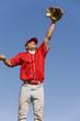 Baseball player catching ball in baseball glove