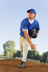 Baseball pitcher on mound