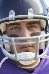 Football Player in helmet, close-up, portrait, close-up, portrait