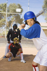 Softball player at bat, portrait