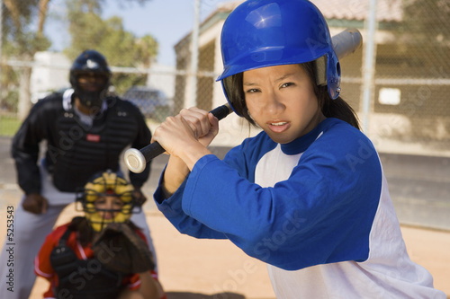 Softball player at bat, close-up