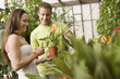 Young couple looking at exotic potted plant in greenhouse