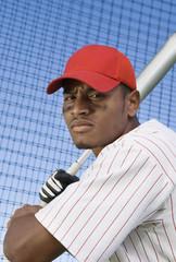 Baseball batter during practice, portrait