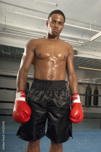 Boxer with red boxing gloves in gym, portrait