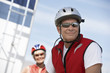 Couple on bicycle ride, portrait