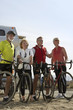 Two couples on bicycle ride, group portrait