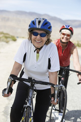 Two women on bicycle ride, portrait
