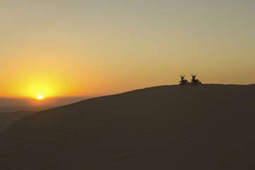 Quad bikes in desert at sunset, silhouette