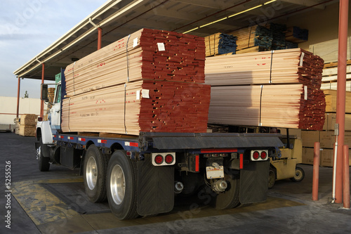 Wood stacked on a truck, rear view