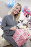 Woman with a Gift at Baby Shower