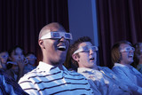 People Watching 3-D Movie in Theater