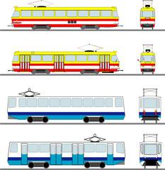 set of vector trams