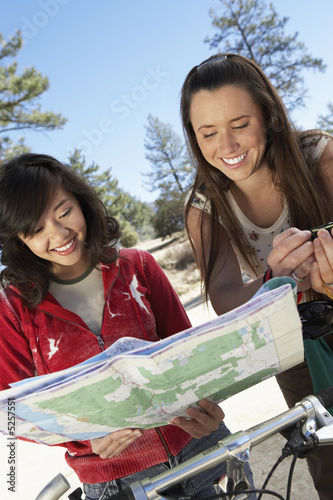 Mountain Bikers with Trail Map