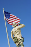Soldier saluting United States flag, outdoors, low angle view