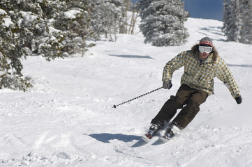 Young Man Skiing