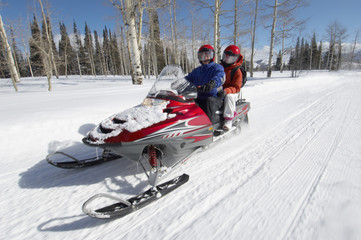 Couple on Snowmobile