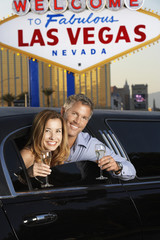 Couple Toasting in Limousine