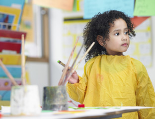 Elementary Student in Art Class