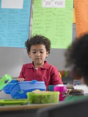 School Boy Eating Lunch