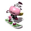Vache en snowboard