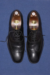 Pair of wing-tip shoes, view from above