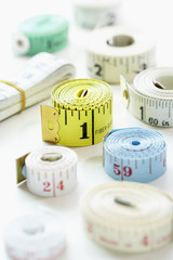 Rolls of measuring tape, close-up