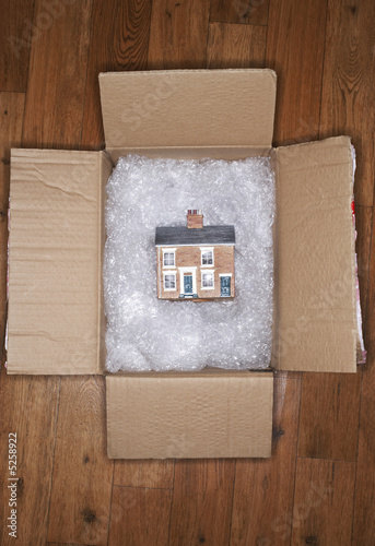 Model of house on bubble wrap in packing carton, view from above