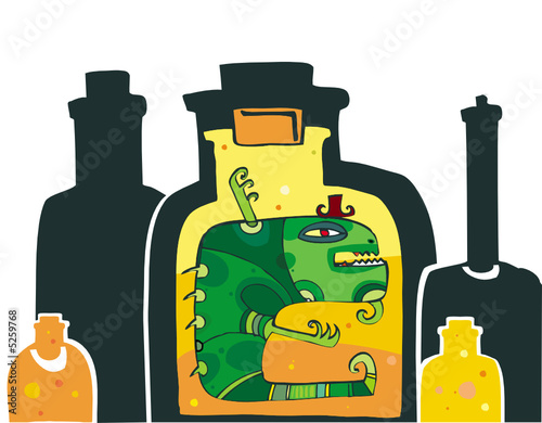 Illustration of scary monster in the Bottle