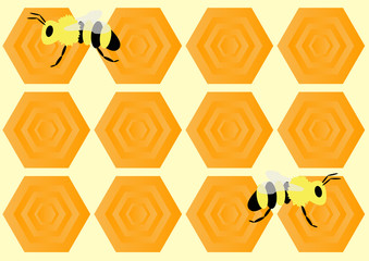 bees and hexagon honeycomb pattern