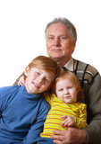 boy and girl with  grandfather isolated on white poster