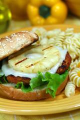 Teriyaki Salmon Burger with Pineapple
