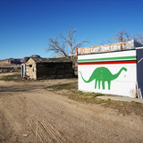 Painted dinosaur on building. poster