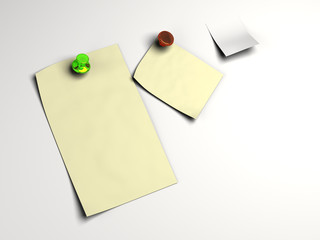 Blank white note pinned