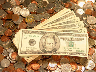 United States Bills Coins Dimes Pennies Quarters