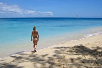 Girl on Caribbean Beach