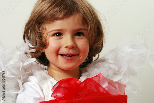 happy angel with gift