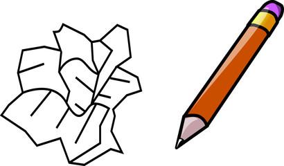 papier à jeter et crayon