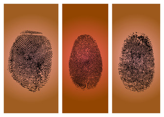 Three finger prints isolated on gradient background (vector)