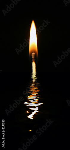 Lit match in water