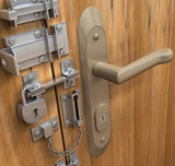Security Concept. Many lock in only one door poster