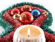 candle and xmas decorations