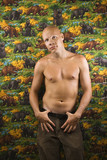 Shirtless male portait. poster