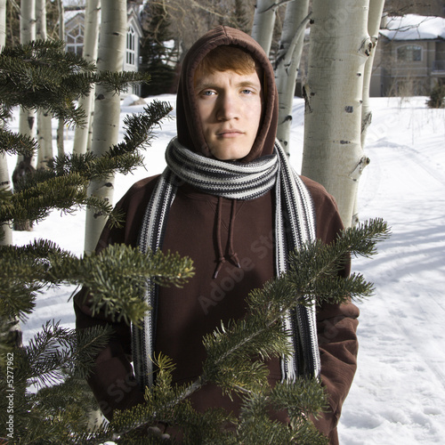 Teen in winter setting.