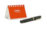 Mini desktop calendar and fountain pen poster