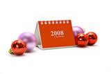 Mini desktop calendar and Christmas ornaments poster