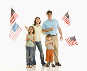 Family holding American flags.