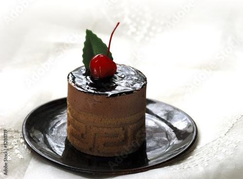 chocolate mousse with cherry