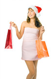 Shopping woman  with package poster
